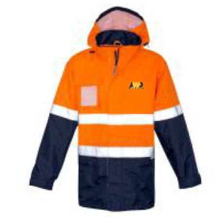 Waterproof Jacket - Orange / Navy