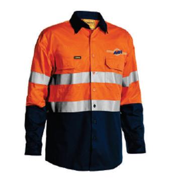 3M Taped Hi-Vis Long Sleeve Shirt - Orange / Navy