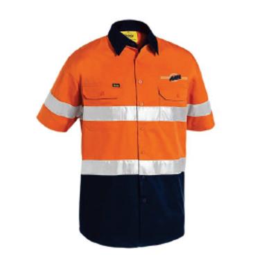 3M Taped Hi-Vis Short Sleeve Shirt - Orange / Navy