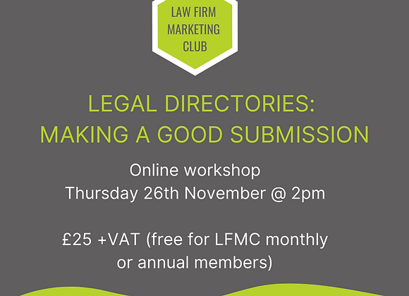 Legal Directories: Making a Good Submission Webinar November 2020