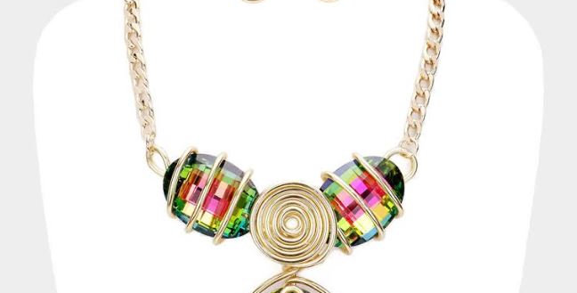 Gold Multicolor Stone with earrings