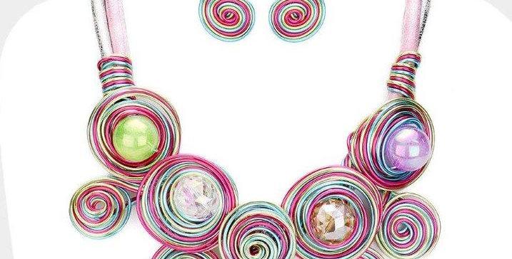 Multi color circle spiral necklace