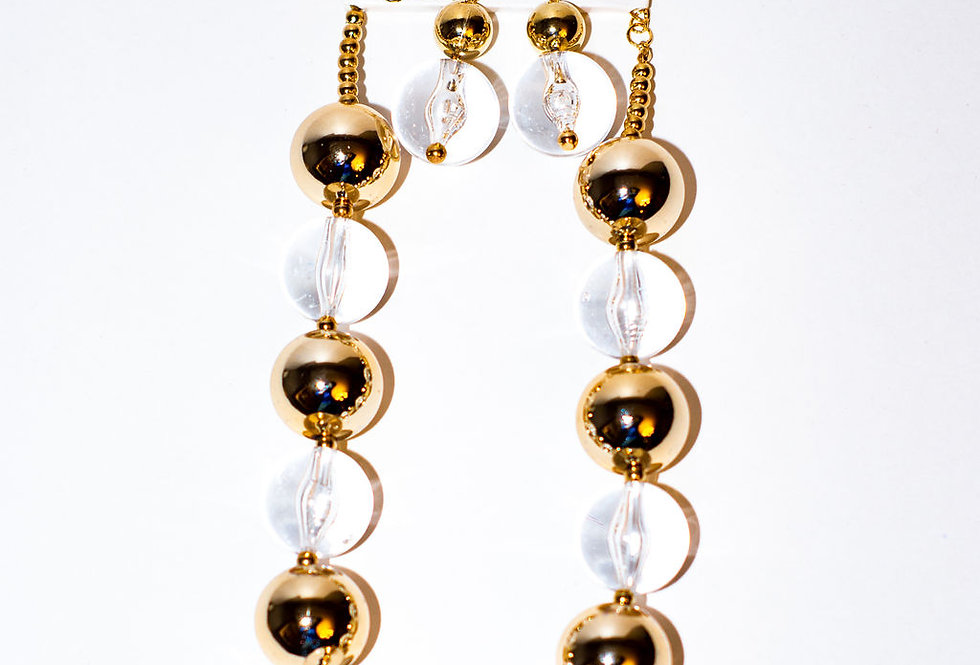 Gold and Clear Choker with earrings