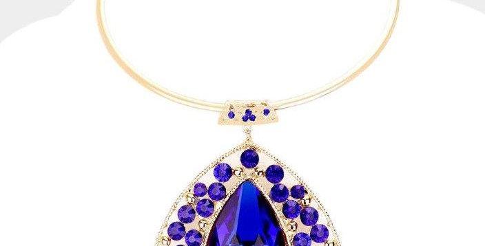 Sapphire drop choker with earrings