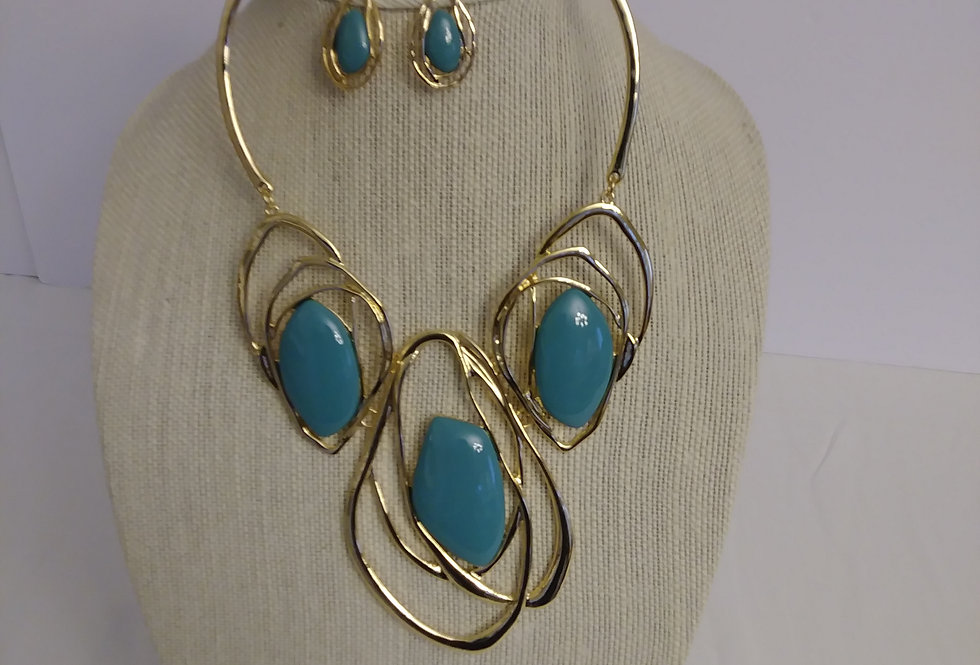 Teal and Gold neckace with earrings