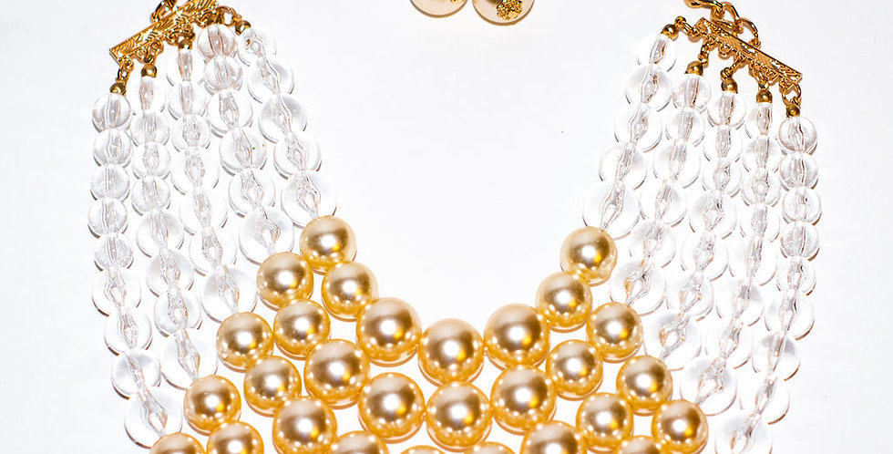 White and Gold Necklace with earrings