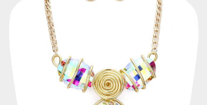 Multi color diamond  necklace with earrings