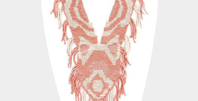 Peach and white fringe necklace