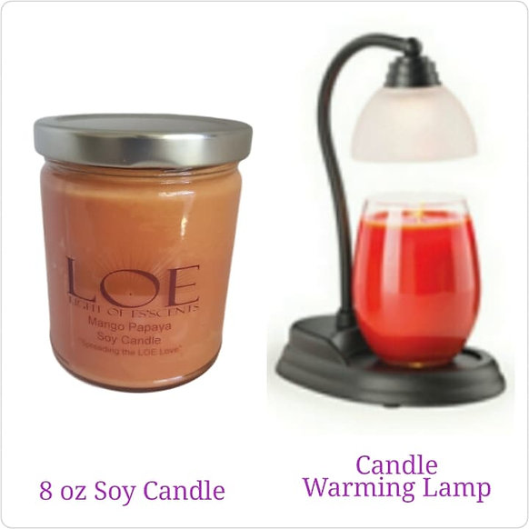 8 oz Soy Candle and Candle Warmer
