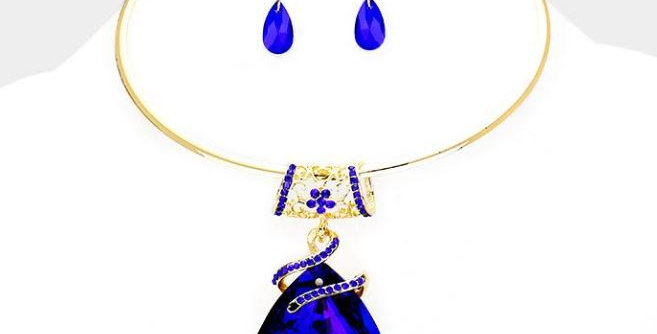 Blue Crystal Tear Drop necklace with earrings