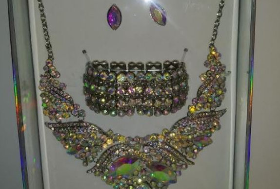 Multi color Bling necklace, bracelet and earrings