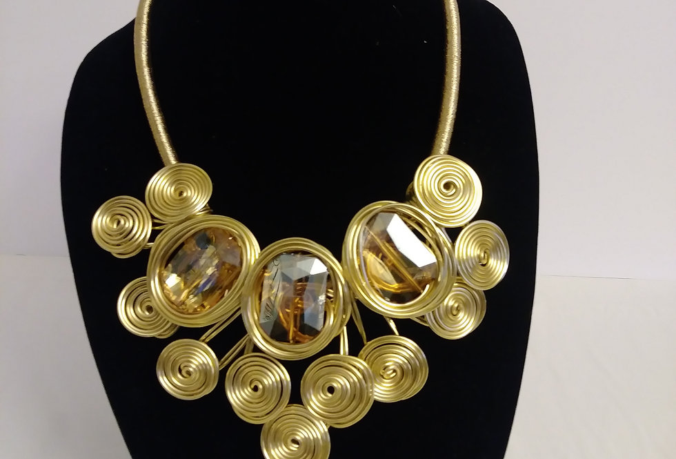 Gold cirlce and bronze stone necklace