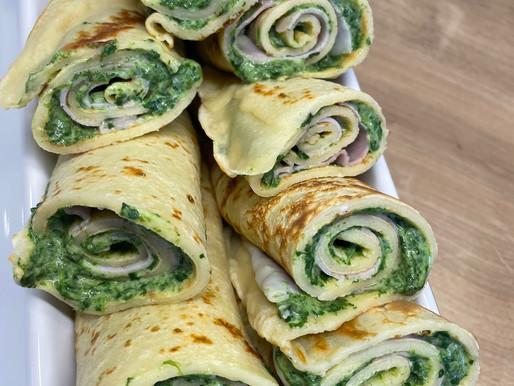 Spinat-Frischkäse-Pfannkuchen-Wrap