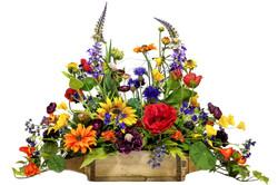 E1.Blurmixed flowers in wood brick