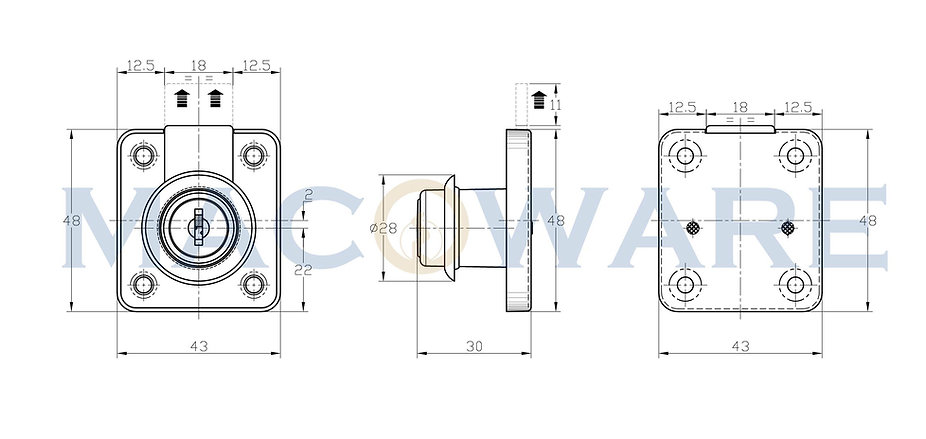 FL200 Drawer Lock with Fixed Cylinder-01