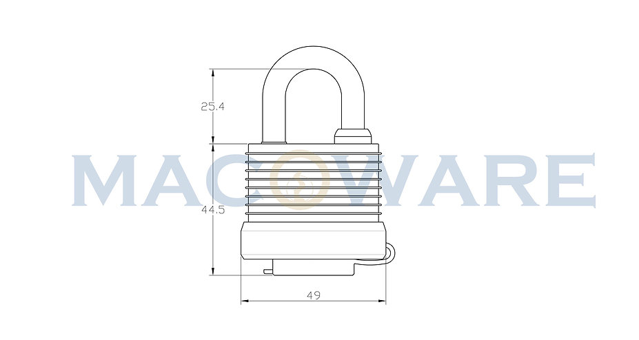 50 series Laminated Steel Padlock with W