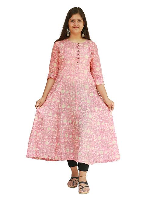 HunarWE Women Pink Anarkali Chanderi Kurta