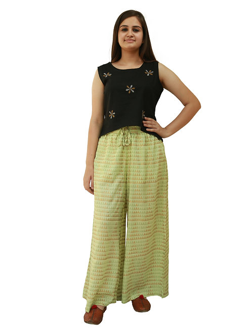 HunarWE Women  Black Embroidered  Top With Green Printed Palazzos