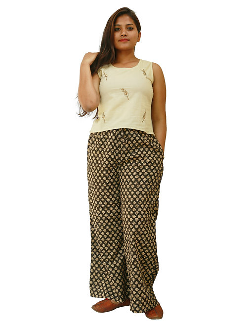 HunarWE Women Cream Embroidered Top With Black Printed Palazzos