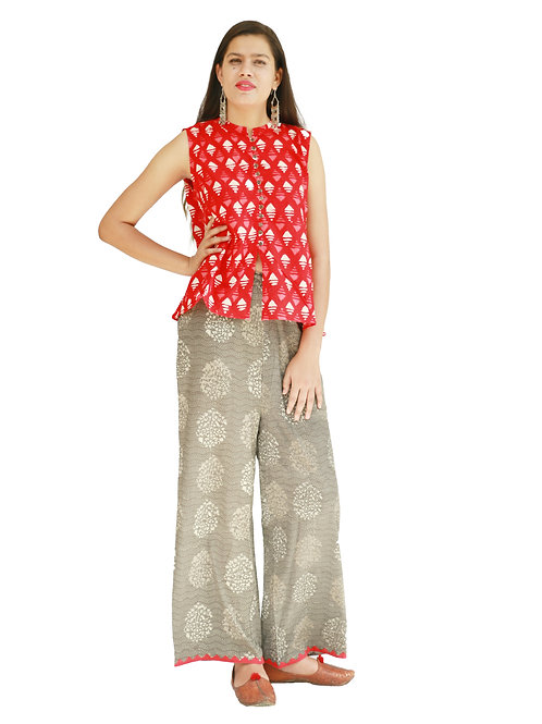 HunarWE Women Red Printed Top  With Grey Printed Palazzos