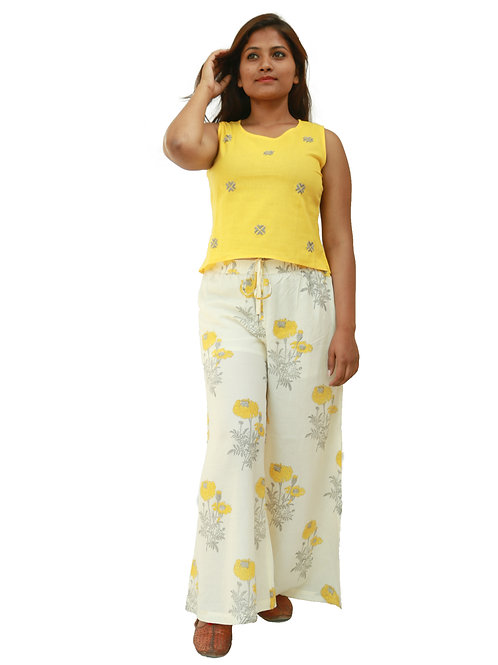 HunarWE Women  Yellow EmbroideredTop With Cream Floral Printed Palazzos