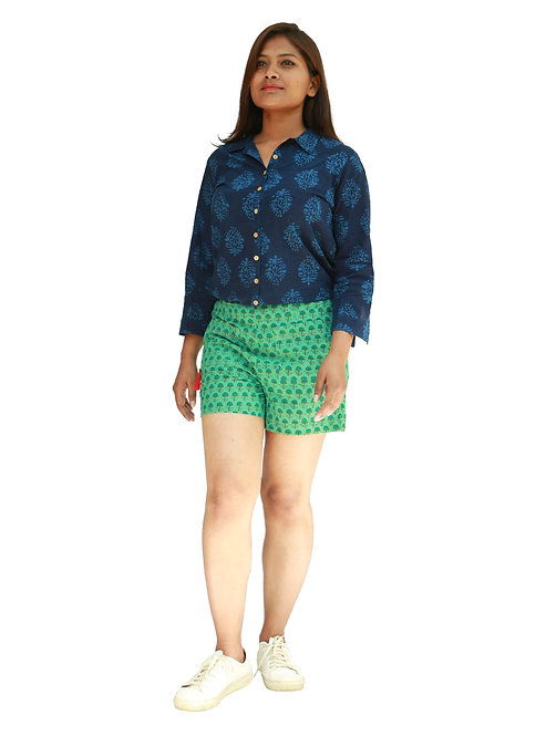 HunarWE Light Green Cotton Shorts With Red Tassel