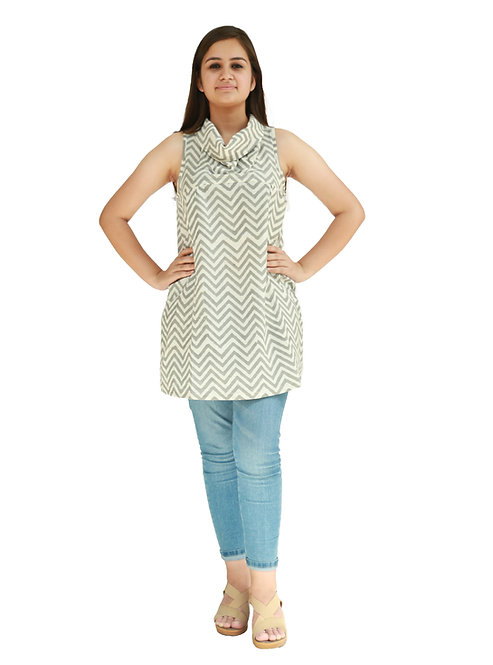 HunarWE Grey And White ZigZag Striped Sleeveless Cowl Neck Cotton Top