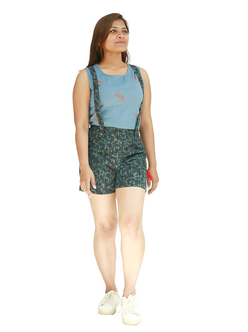 HunarWE Light Blue Floral Cotton With Dark Green Cotton Printed Dungaree Shorts