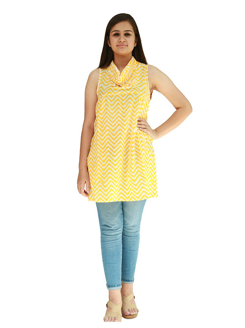 HunarWEYellow And White ZigZag Striped Sleeveless Cowl Neck Cotton Top