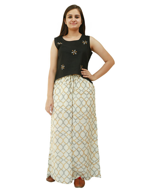 HunarWE Women Black Embroidered Top With Cream Printed Palazzos