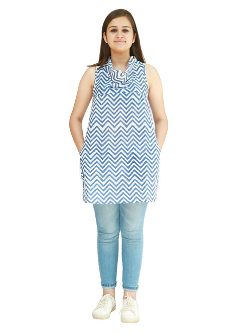 HunarWE Blue And White ZigZag Striped Sleeveless Cowl Neck Cotton Top