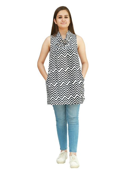 HunarWE Black And White ZigZag Striped Sleeveless Cowl Neck Cotton Top