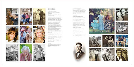 Page spread of family photos in wildlife artist Gary Hodges' Heart and Soul book