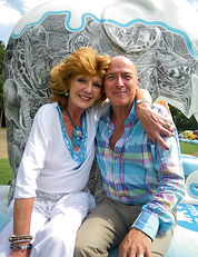 Gary and Rula Lenska with Tattoo, Gary's sculpture of an elephant for Elephant Parade