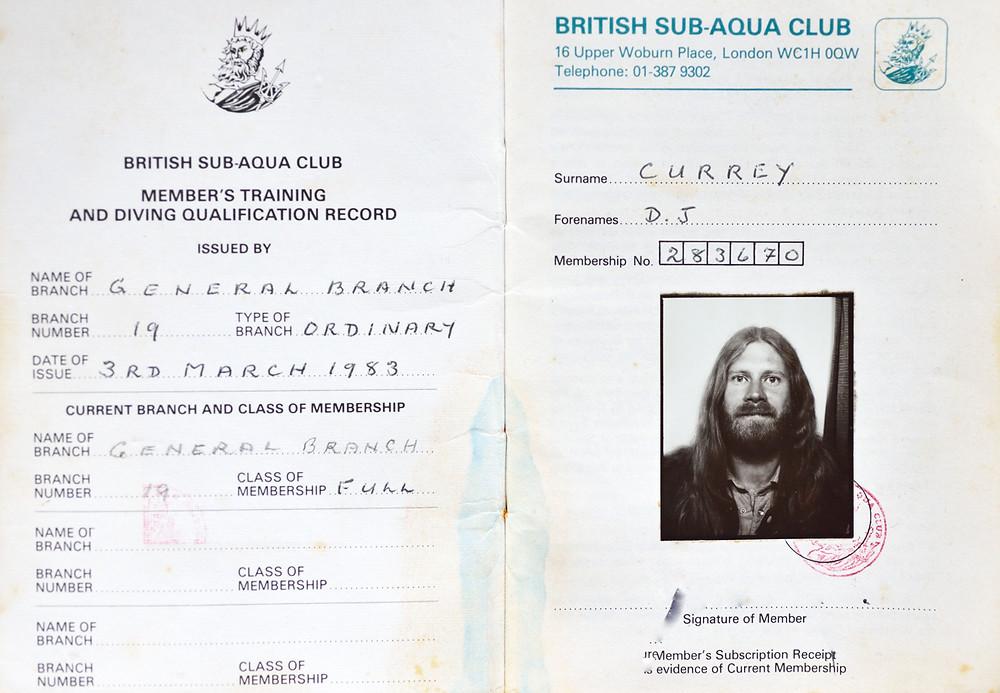Sub Aqua Dave Currey diving membership 1983