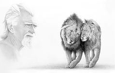 George Adamson with lions Boy and Christian drawing by Gary Hodges