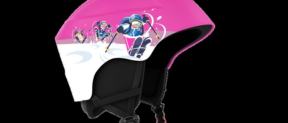 Smash Snowsport JR. Helmet - White and Pink w Skier - XS - 48-52