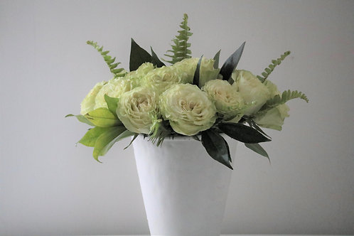 Lemonade Roses in white vase