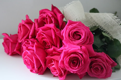 12 Hot Pink Roses Bouquet