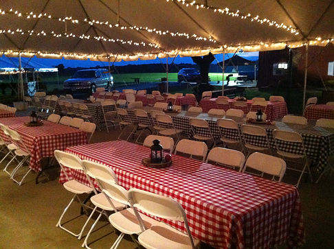 Tent tables checkered table cloth.jpg