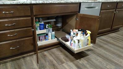 Under kitchen sink slide out shelves