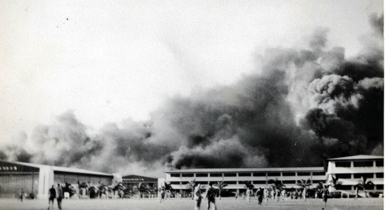 10. My dad's original photo of Hickam Field burning