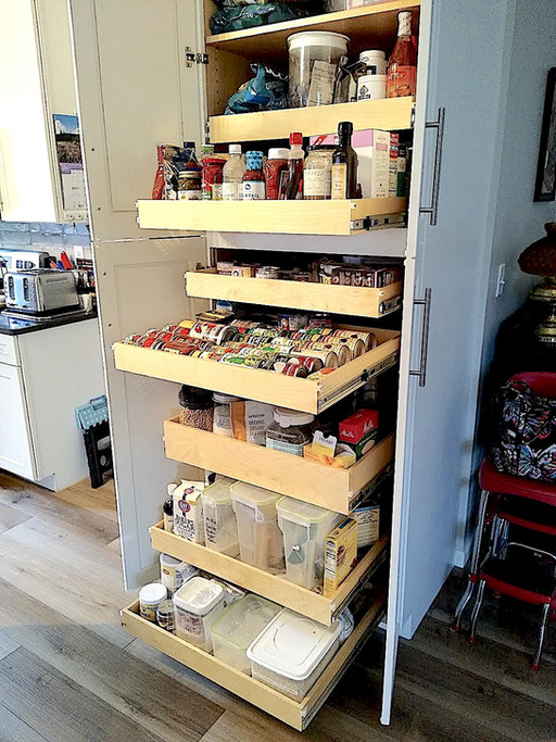 Sliding Pantry Shelves allow you to see what you have at a glance