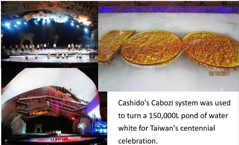 The Whitewater Company system was used to turn a 150,000L pond of water white for Taiwan's centennial celebration.