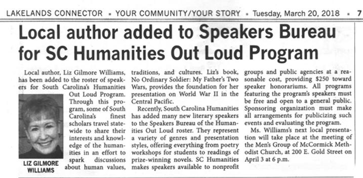 SC Speakers Bureau - Liz Gilmore Williams, Author