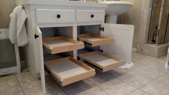 Bathroom Organization with Pull Out Shelves