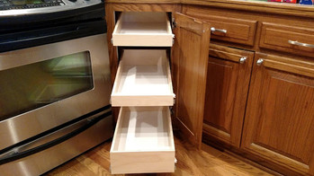 Lazy-susan replaced with 3 pull out shelves