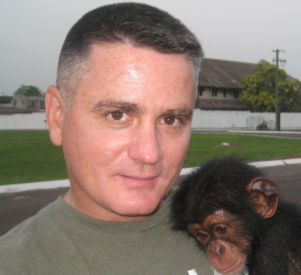 Anthony C. Fabiano with rescued Chimp, Lucy