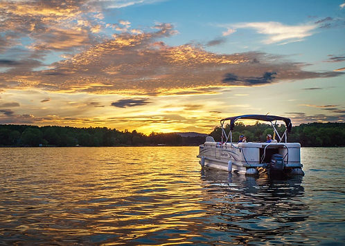 Boat at sunset on Lake Norman