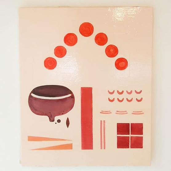 宇宙との交信,祭りの団子_Terumi Goto_Oil and acrylic